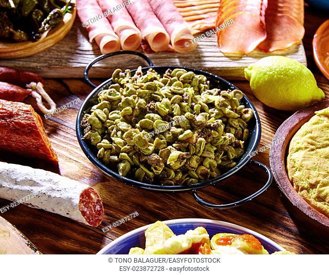 Tapas habas con morcilla lima beans Spain food