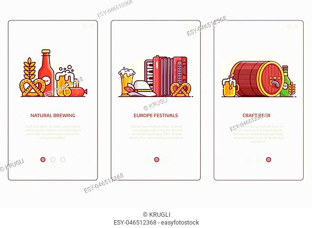 Beer festival, natural brewing and craft beer user interfaces for mobile applications. Brewery UI concept illustrations with popular oktoberfest symbols in flat...