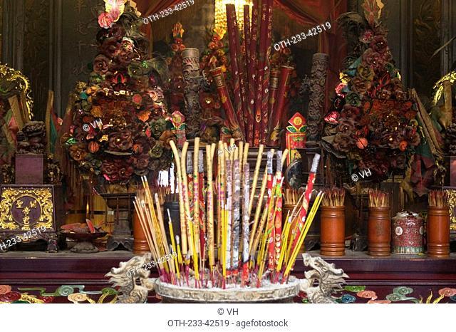 Altar of the historical Man Mo Temple at Taiwo, Taipo, Hong Kong