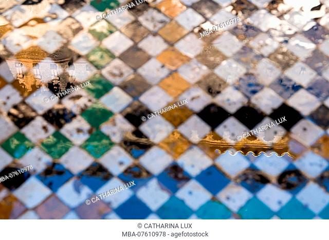 Morocco, Fez, Medina, Medersa Attarine, former Koranic school, floor, mosaic, reflection