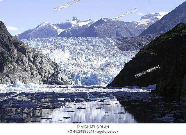 The Sawyer Glacier, a tidewater glacier at the end of Tracy Arm in Southeast Alaska, USA