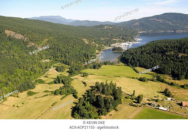 Aerial view of Maple Bay and Maple Bay Marina, Vancouver Island, British Columbia, Canada
