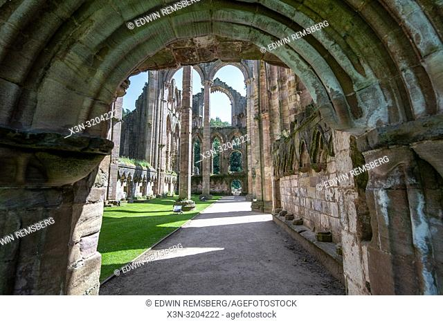 The massive empty framework of the Fountains Abbey is some of the only lasting remnants of the once great monastary, Ripon , Yorkshire, UK