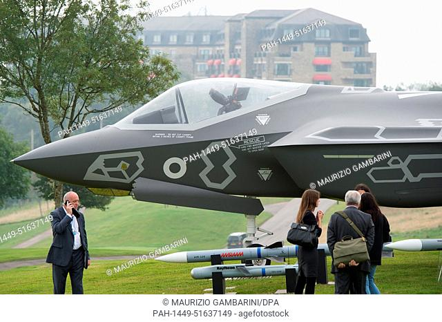 A Lockheed Martin F-35 Lightning II and the attached weapon system is exhibited on the golf course of the hotel Celtic Manor in Newport, Britain