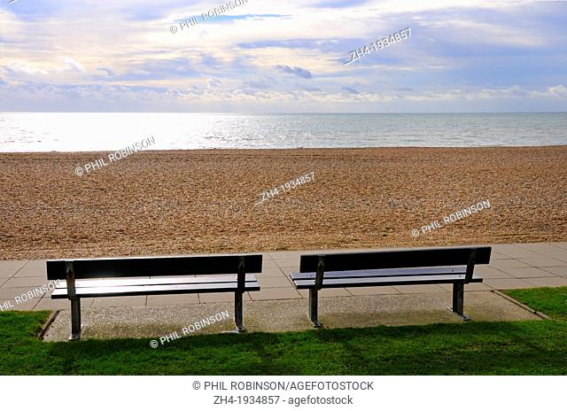 Hastings, East Sussex, England, UK. Empty benches on the seafront in November