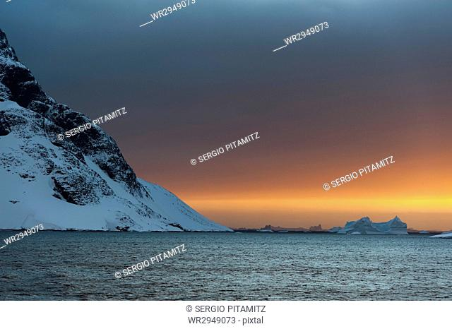 Sunset in the Lemaire Channel, Antarctica, Polar Regions