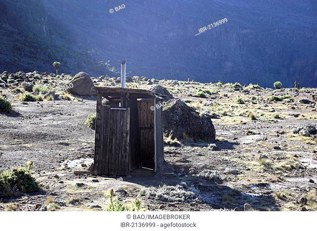 Most isolated outhouse in Africa, Barranco Hut camp, 3950 m, Mount Kilimanjaro, Tanzania, Africa