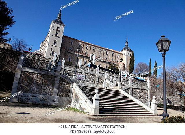 Panoramic View of the Alcazar of Toledo Castilla La Mancha, Toledo, Spain