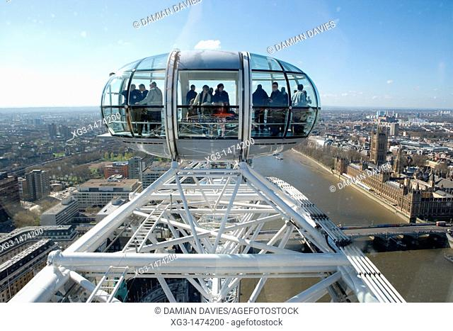 London Eye pods high above the City, London, England