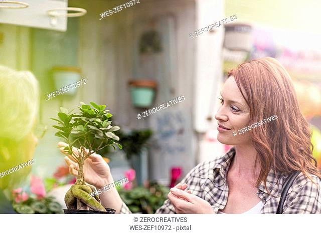 Woman at garden centre looking at bonsai tree