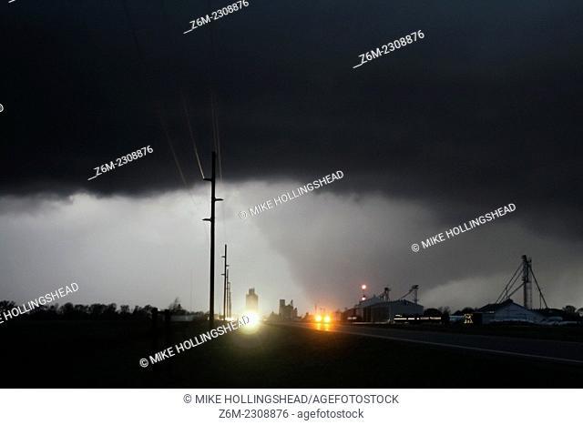 Early season large tornado moves near the town of Grant Nebraska March 28, 2007