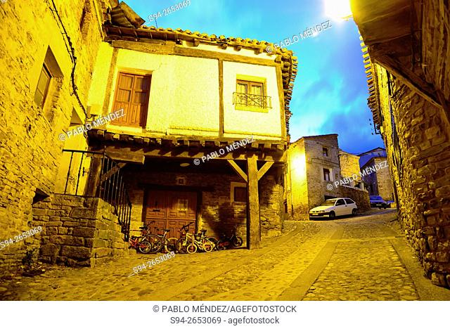 Stone pavement street and framework house of Yanguas, Soria, Spain