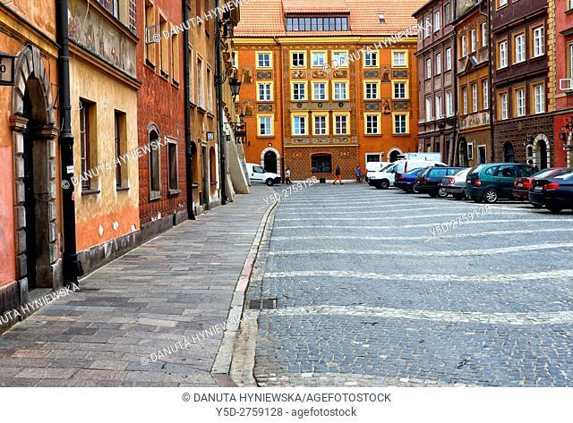 Szeroki Dunaj street, Old Town of Warsaw, UNESCO Heritage, Warsaw, Poland, Europe