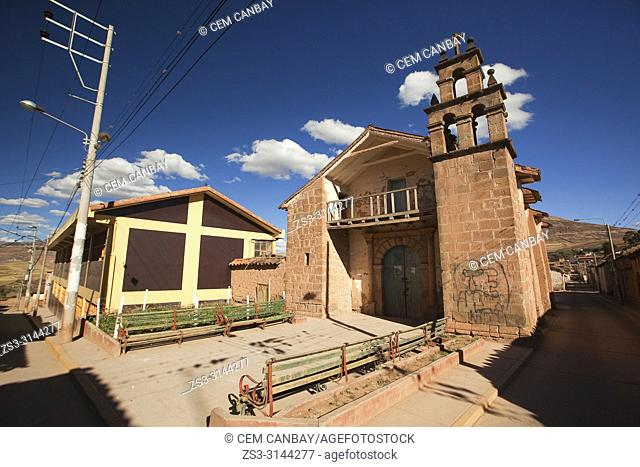 View to the Virgen Del Carmen Church in Maras village in Sacred Valley, Cusco Region, Peru, South America