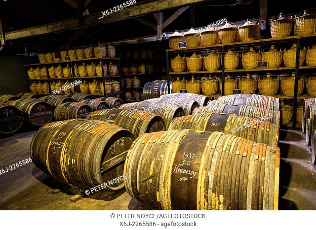 Hennessy ageing warehouse where the eaux-de-vie is stored in oak barrels to mature before blending