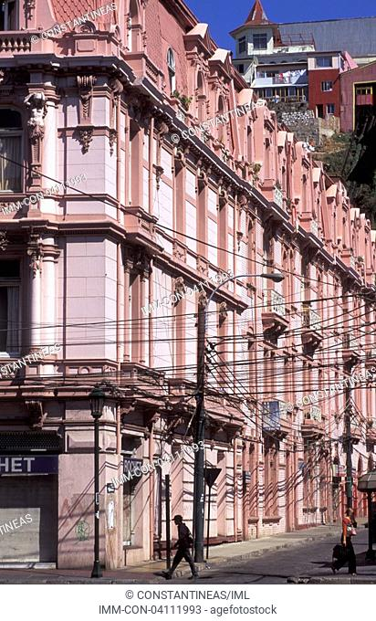 El Plan, the commercial zone of the city, buildings Valparaiso, Chile, South America
