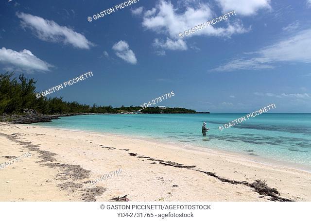 A person fishing, Twin Sister beach, Eleuthera island, Bahamas
