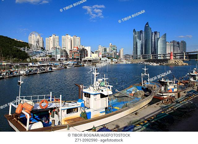 South Korea, Busan, skyline, harbor, fishing boats,
