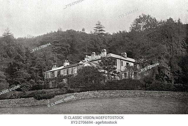 "Ruskin's home, Brantwood in the Lake District, England. John Ruskin, 1819-1900. English writer, art critic and reformer. From the book """"The International..."