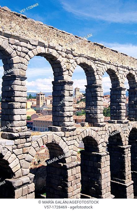 Roman aqueduct, close view. Segovia, Castilla Leon, Spain