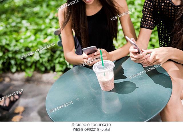 Two young women using cell phones in a park