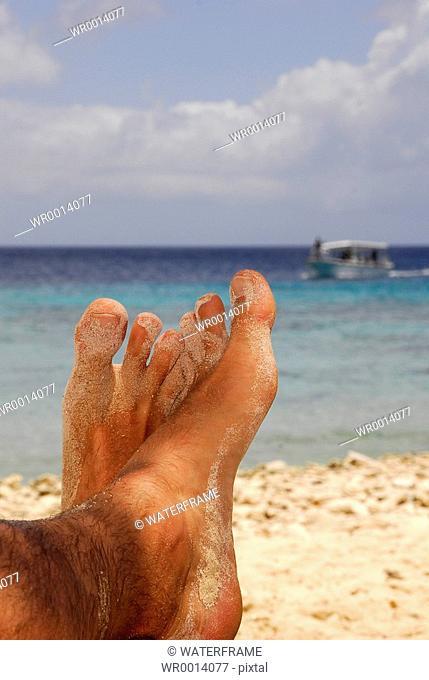 Relaxing at Beach, Caribbean Sea, Netherland Antilles, Curacao