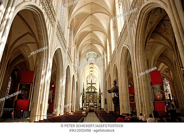 interior of The Onze-Lieve-Vrouwekathedraal (Cathedral of our Lady) in Antwerp, Belgium, Europe