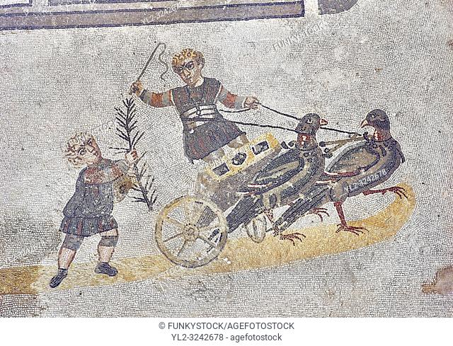 Roma children's chariot race from The Vestibule of The Smnall Circus, room no 41 - Roman mosaics at the Villa Romana del Casale which containis the richest