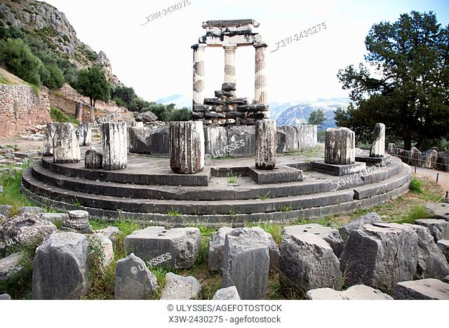 Temple of Athena, Delphi archaeological site, Sterea Hellas, Greece, Europe