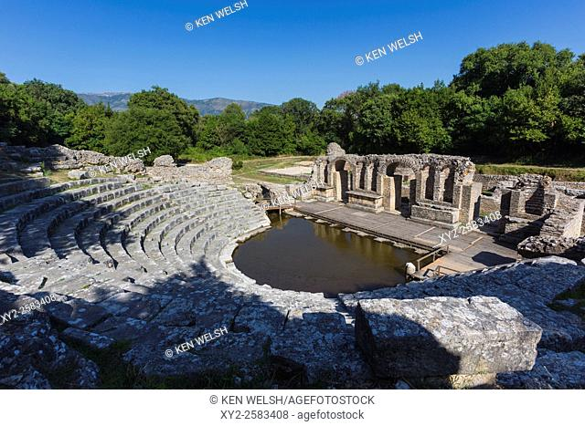 Albania. Butrint or Buthrotum archeological site; a UNESCO World Heritage Site. The theatre. A rising water table has flooded the orchestra