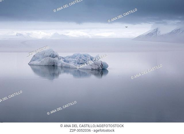Jokulsarlon glacier lagoon lake in winter., Iceland