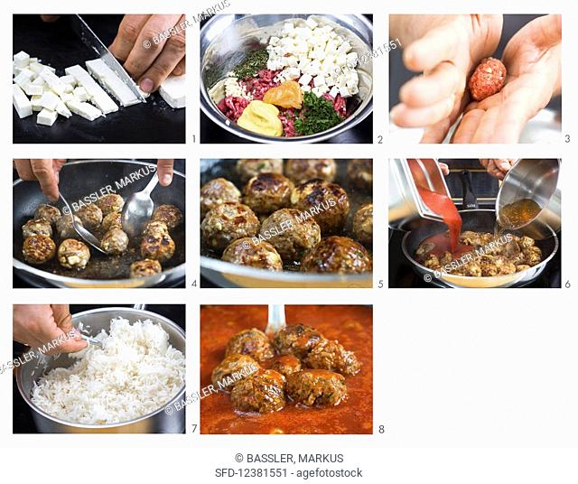 How to make lamb meatballs with tomato sauce, rice and mint