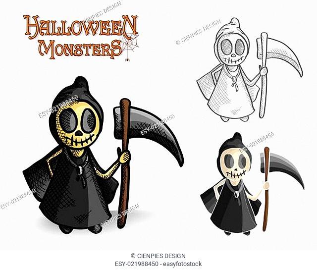 Halloween monsters spooky reaper illustration EPS10 file