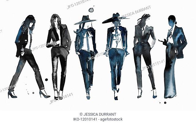 Watercolour fashion illustration of models on catwalk
