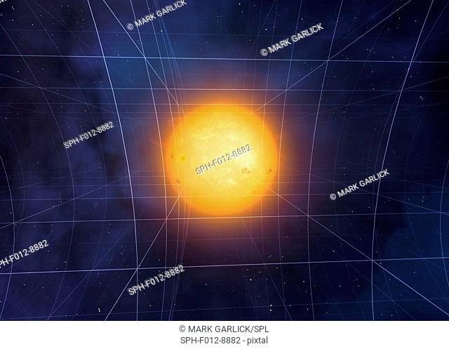 Curvature of space-time. Computer artwork of the Sun curving space-time according to Einstein's General Theory of Relativity