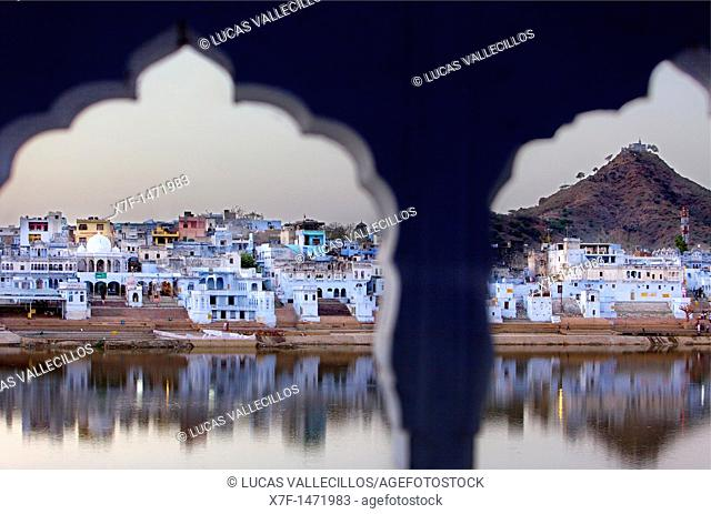 The holy lake and the village of Pushkar,pushkar, Rajasthan, india