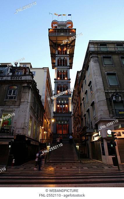 Low angle view of elevator, Santa Justa Elevator, Baixa, Lisbon, Portugal