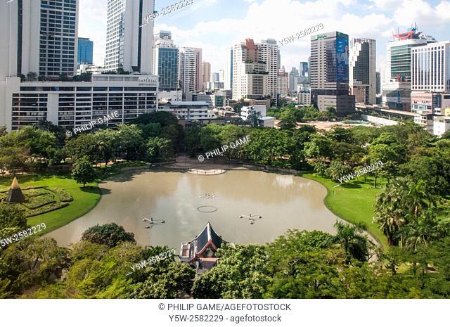 View across Benjasiri Park, Sukhumvit Road, Bangkok, Thailand