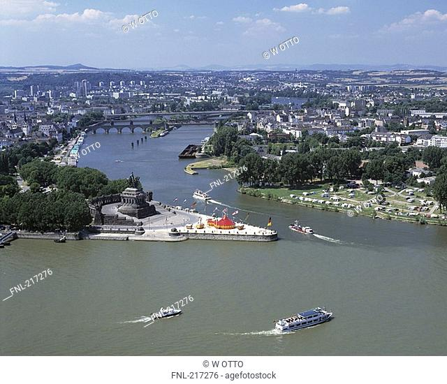 Aerial view of boats in river, Mosel River, Koblenz, Rhineland-Palatinate, Germany
