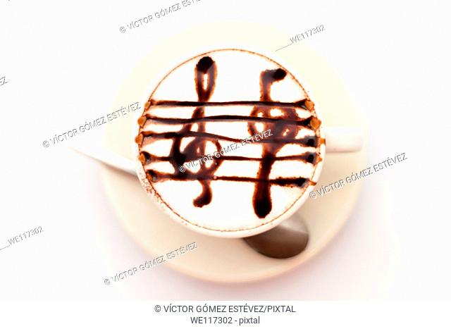 Above view coffee cup with treble draw in chocolate