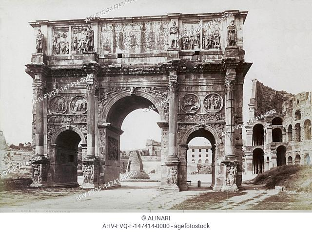 The arch of Constantine are part of the Colosseum, in the Imperial Forum, Rome (315), shot 1890 ca. by Anderson;;Anderson, Domenico