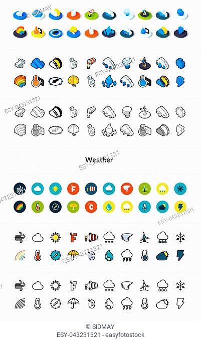 Set of icons in different style - isometric flat and otline, colored and black versions, vector symbols - Weather collection