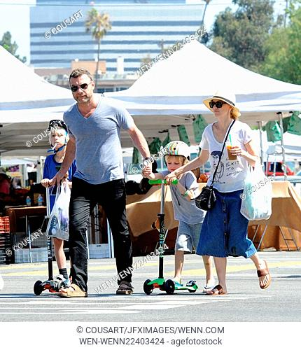 Actress Naomi Watts accompanied by husband Liev Schreiber takes their two boys Alexander and Samuel out at the farmers market in Brentwood Ca