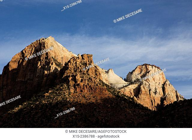 Mountains in Zion National Park in Utah as seen at first light