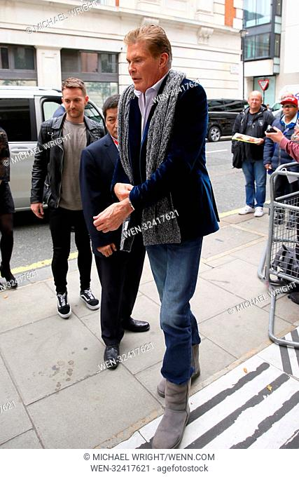 David Hasselhoff greets fans as he arrives at Radio 2 Featuring: David Hasselhoff Where: London, United Kingdom When: 04 Oct 2017 Credit: Michael Wright/WENN