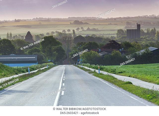 Denmark, Mon, Borre, elevated village view