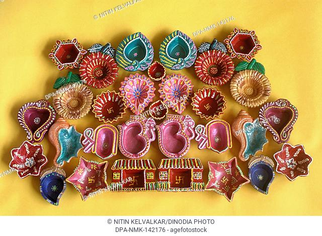 Oil lamps diyas kept for sell ; Diwali deepawali Festival ;  Bombay now Mumbai ; Maharashtra ; India