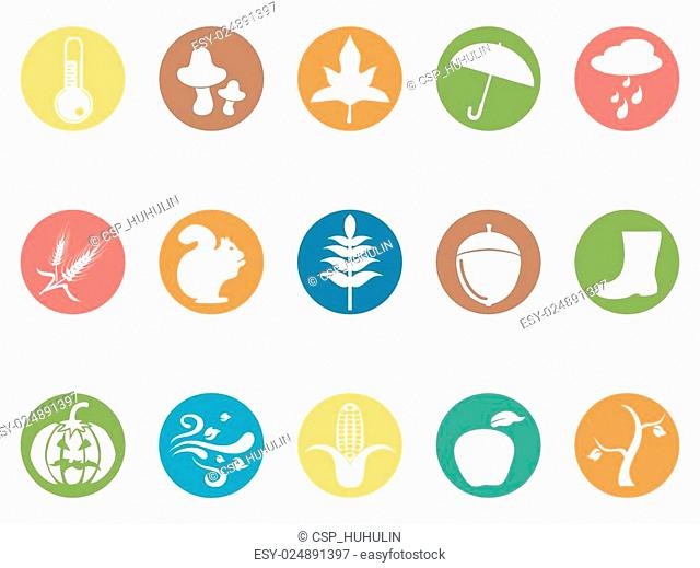 autumn round button flat icons set