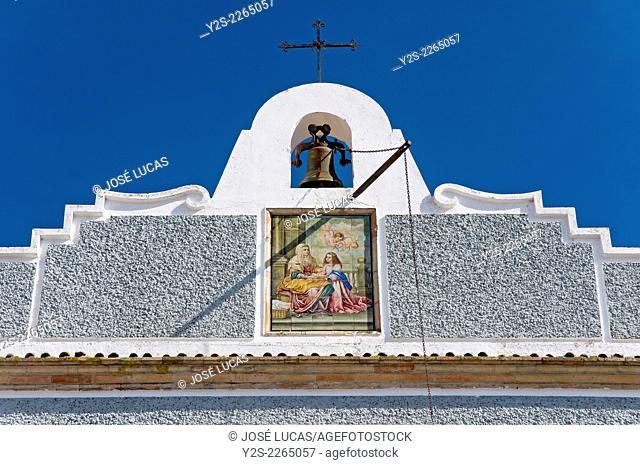 Monastery of Santa Ana - bell gable, Alosno, Huelva province, Region of Andalusia, Spain, Europe
