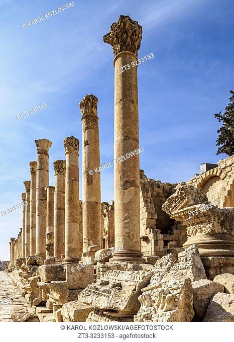 Colonnaded Street or Cardo, Jerash, Jerash Governorate, Jordan